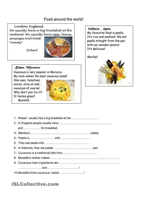 cooking worksheets  elementary students google search