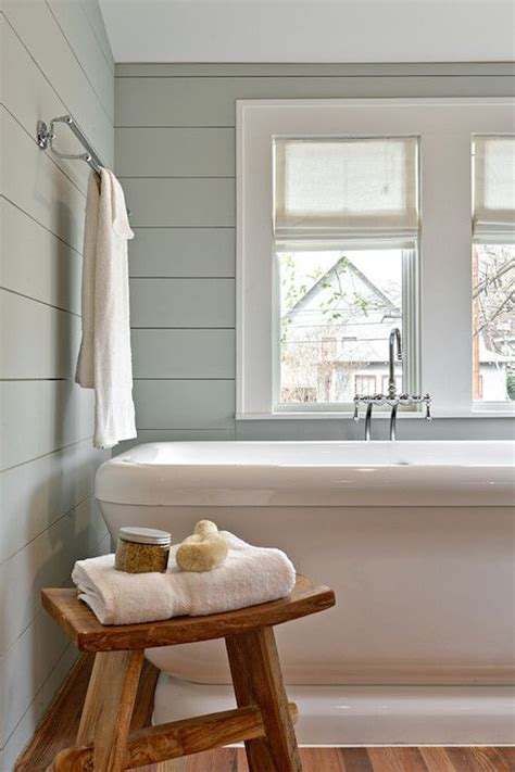 White Painted Shiplap by Restful Bathroom With Shiplap Clad Walls Painted Gray