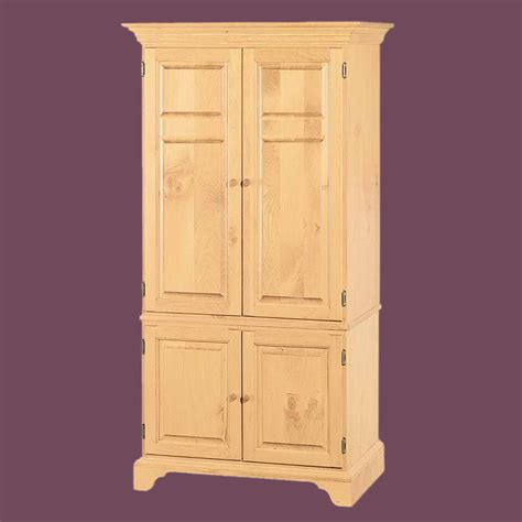 Natural Solid Pine Computer Armoire Cabinet Easy Assembly