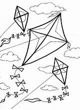 Kite Coloring Flying Pages Outline Cartoon Boy Printable Getdrawings Getcolorings sketch template