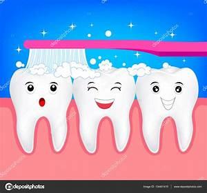 Diente de feliz de dibujos animados lindo con cepillo de dientes Archivo Imágenes Vectoriales