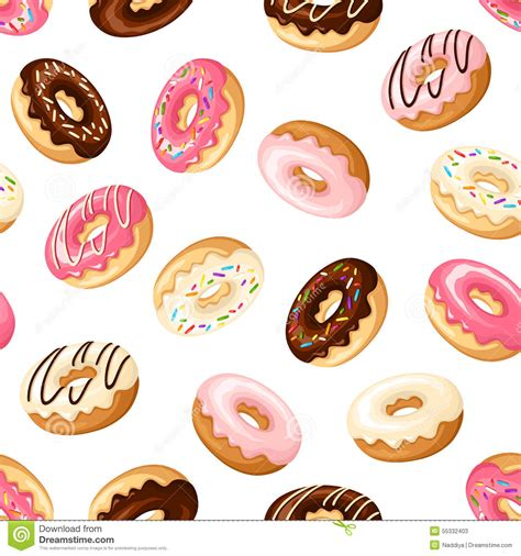 Donut Background Seamless Background With Donuts Vector Illustration