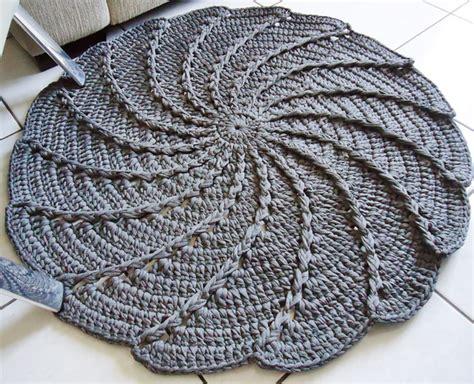 tapete redondo de croch 234 em malha espiral atelier nat croch 234 elo7
