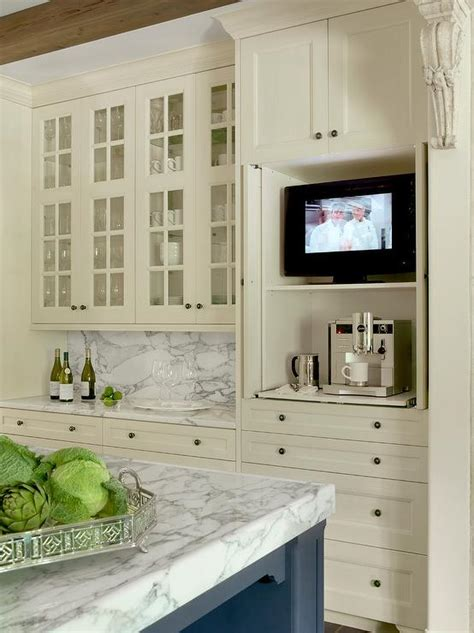 tv for kitchen cabinet ivory kitchen cabinets with gray backsplash design ideas 8598