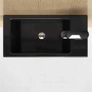 Lave Main Ceramique : lave main noir gain de place 50x25 cm en c ramique pure ~ Edinachiropracticcenter.com Idées de Décoration