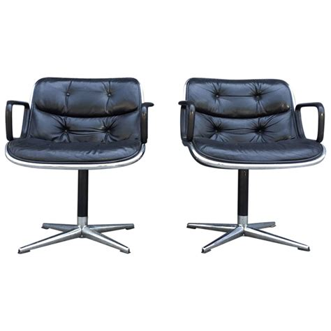 pair of early charles pollock for knoll accent chairs for