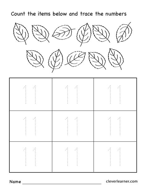 number eleven writing counting and identification 787 | Number 11 preschool worksheets 04