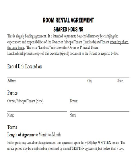 room rental agreement template word  funfin