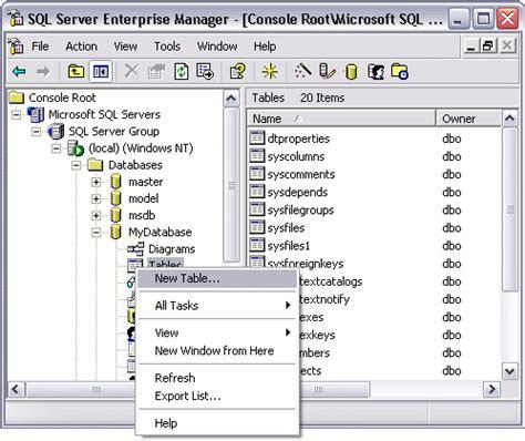 sql server show tables sql server create a table