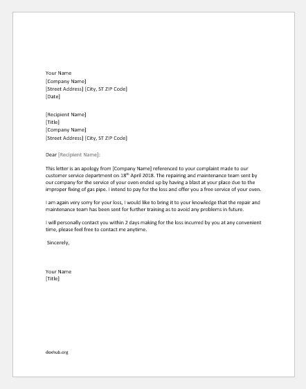 Apology Letters for Poor or Inadequate Service | Document Hub