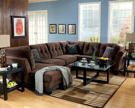 contemporary living room with brown suede