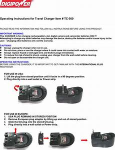 Digipower Tc 500 Users Manual Operating Instructions For