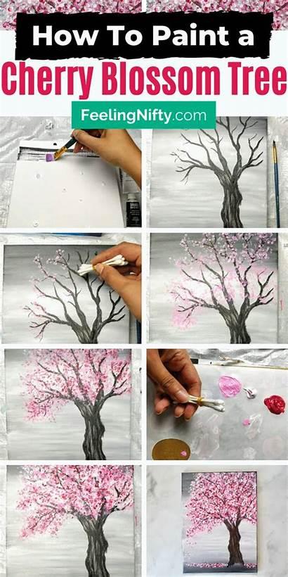 Painting Blossom Cherry Tree Canvas Acrylic Acrylics