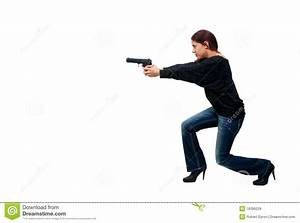 Woman Cop With Gun Royalty Free Stock Images - Image: 18396229