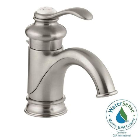 single hole bathroom sink faucet brushed nickel kohler fairfax single hole single handle low arc bathroom