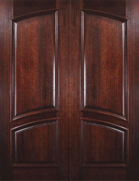 prehung entry double door  wood mahogany  panel square