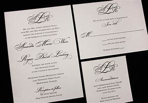 formal black monogram fancy script wedding invitations With pictures of formal wedding invitations