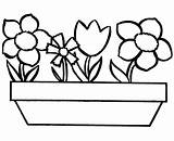 Coloring Flower Simple Pages Flowers Printable Clipart Clip sketch template