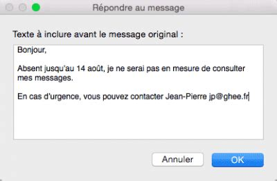 exemple message absence bureau créer un message d 39 absence dans mail mac
