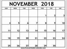 November 2018 Calendar With Holidays month printable