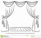 Stage Theatre Coloring Pages Template Curtain Draw Sketch Clipart sketch template