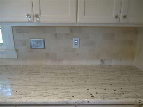 backsplash .limestone subway tile! Would nice with a