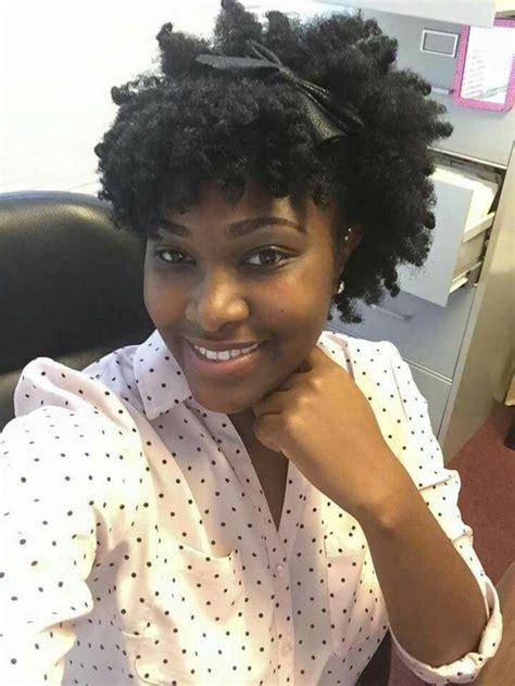 faux bun  curly bang ideas  natural hair