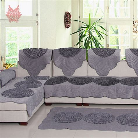 plaid beige canapé pastoral style luxury grey beige disk floral fleece sofa