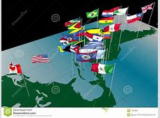 America Flags On Map northern View Stock Photo Image