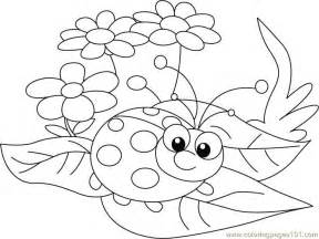 Ladybug and Flowers Coloring Pages Printable