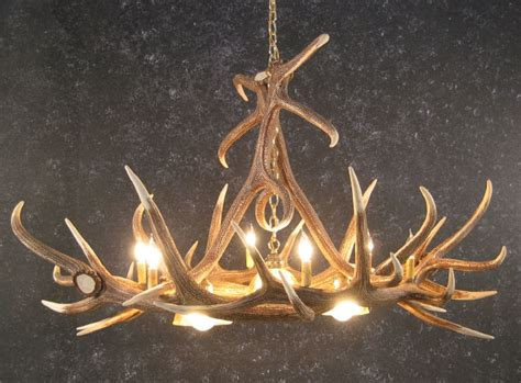 Elk Six Antler Chandelier W/ 3 Down Lights Linear Fireplace With Tv Corner Electric Oak Birch Gas Logs Stand Alone Outdoor Table Surround Mantels Finished Fireplaces