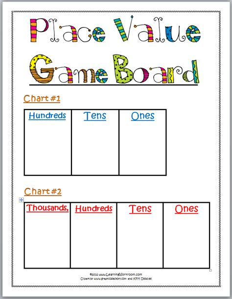 learning ideas grades k 8 printable place value game