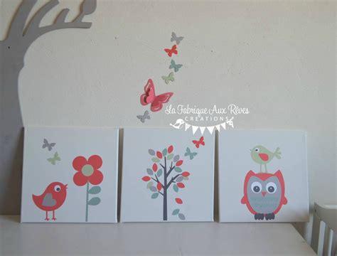 cadre deco chambre bebe tableaux cadres décoratifs bébé enfant arbre hibou oiseaux