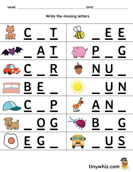 free printable worksheet write the missing letter 3 letter 3 | Write A Missing Letter Free Worksheet 3 Letter Words