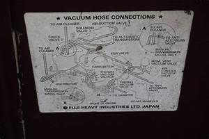 Vacuum Hose Connection Diagram From Under The Hood Of A 1986  Subaru  Brat