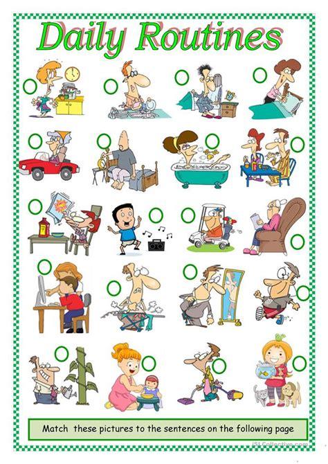 daily routines worksheet  esl printable worksheets