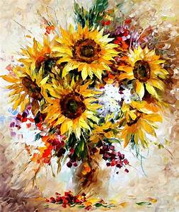 HAPPY SUNFLOWERS— Palette knife Oil Painting on Canvas by
