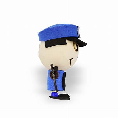 Head Crazy Policeman Magnet
