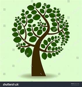 Vector Tree Branches Covered Dark Green Stock Vector ...