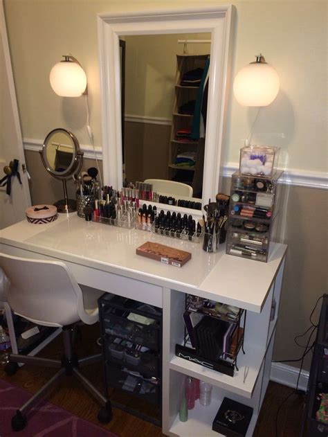 makeup organization white dressing table decoration