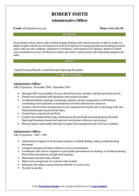 Resume Administrative Officer by Administrative Officer Resume Sles Qwikresume