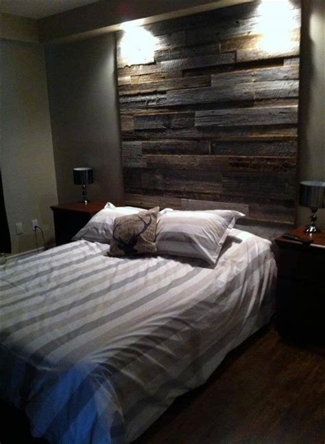 rustic pallet headboard diy wood pallet wall ideas and paneling Diy