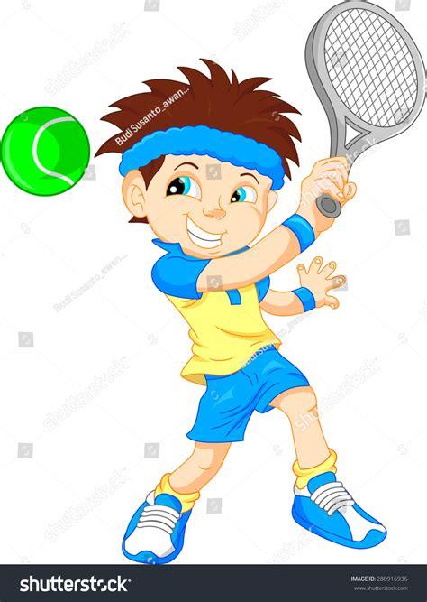 boy tennis player cartoon stock vector illustration  shutterstock