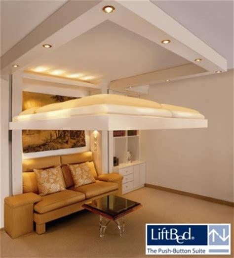 Saving Space With A Suspended Bedroom by Ceiling Bed Liftbed Great Idea For Small Bedrooms