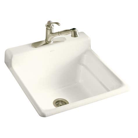 Kohler Utility Sink Faucet by Shop Kohler Biscuit Cast Iron Laundry Sink At Lowes