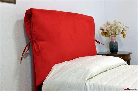 cuscini testata letto letto singolo su misura in tessuto rosso con contenitore