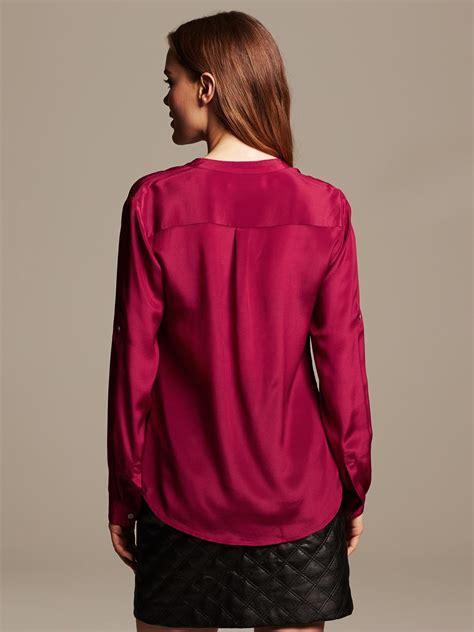 banana republic silk blouse banana republic silk popover blouse in purple cranberry