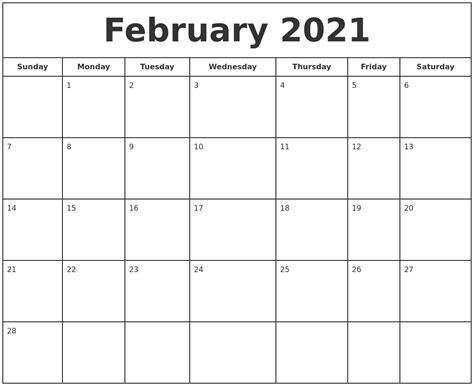 february  print  calendar