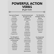Powerful Action Verbs For A Resume  Ulm University Of Louisiana At Monroe