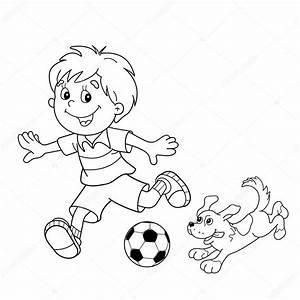 Colorear página esquema de niño de dibujos animados con balón de fútbol con el perro Vector de